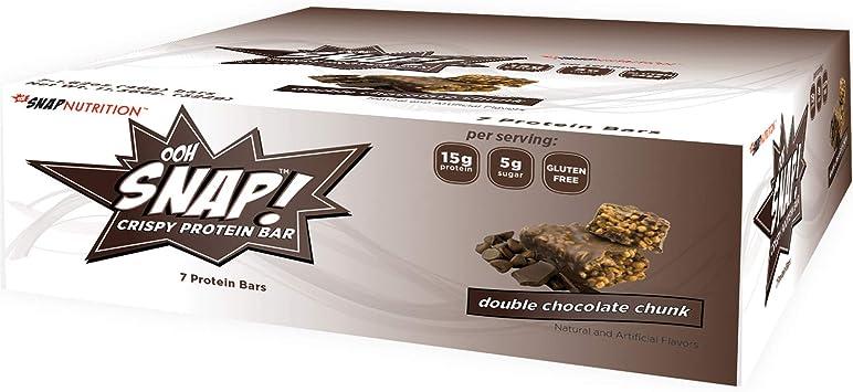 Ooh Snap! Crispy Protein Bar La proteína nutrición sin gluten crispy bar - snack-saludable bajo de azúcar 7 bares pedazo de chocolate doble