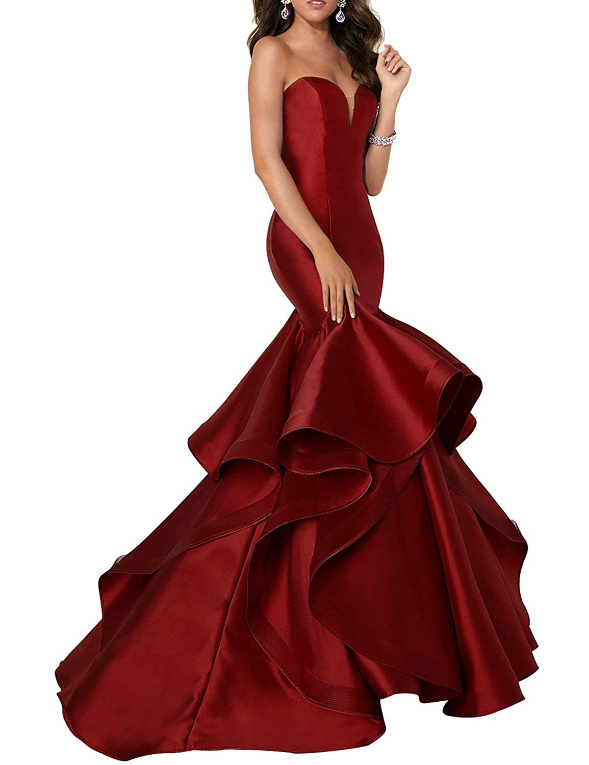 Burgundy Scarisee Women's Sweetheart Mermaid Prom Evening Party Dresses Tiered FormalSA51
