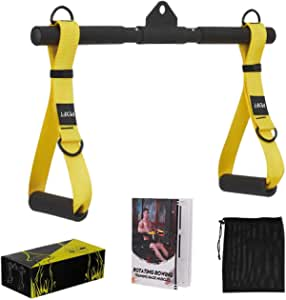 PEXFT Cable Machine Rope Attachment - Crossover Resistance Bands LAT Pulldown Workout Bar Rowing Handle Tricep Rope Fitness Strap Stirrup Grips with Solid ABS Cores for Home and Gym