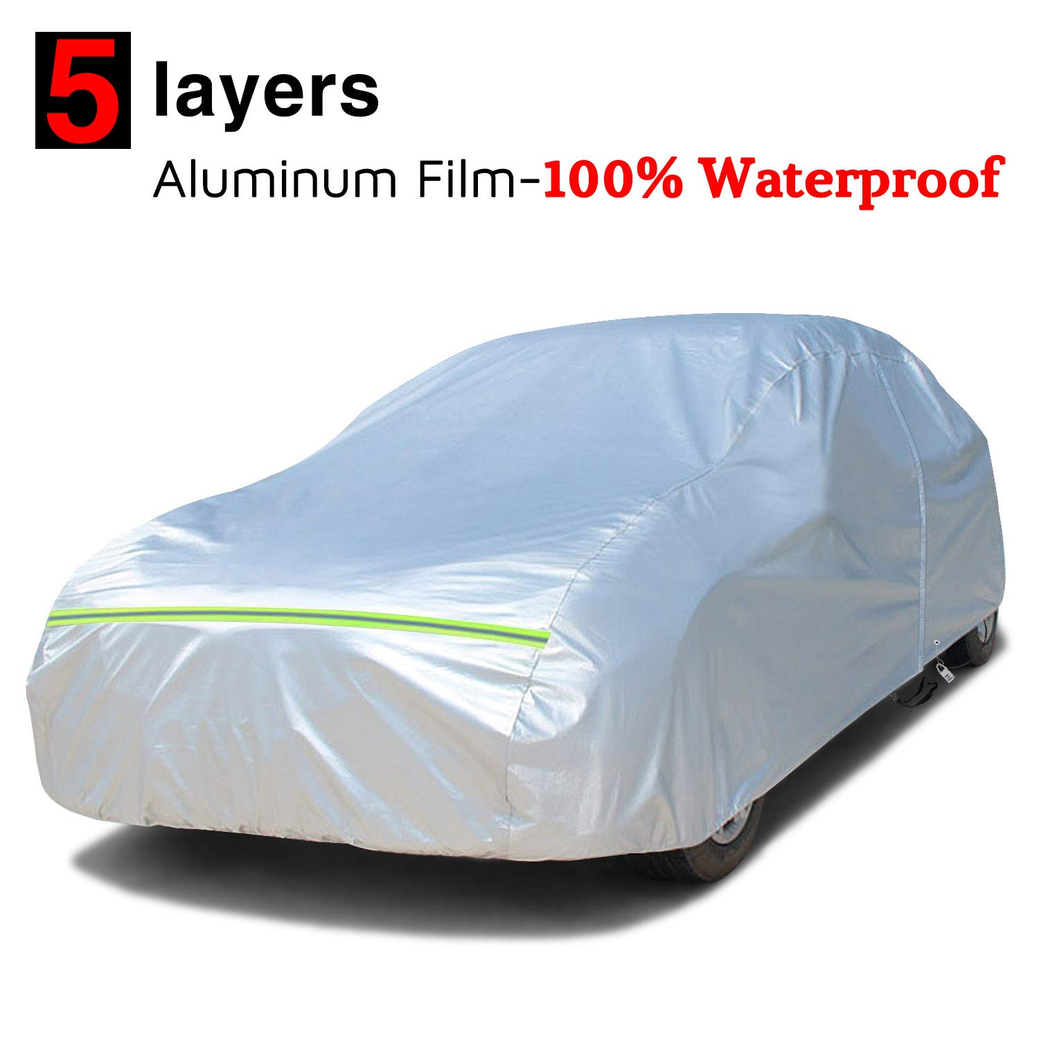 Fits up to 199 with Free Anti-Theft Lock All Weather Sun UV Rain Protection for Sedan Car Automobiles Indoor Outdoor KAKIT Waterproof Car Cover with Full Cotton /& Door Zipper