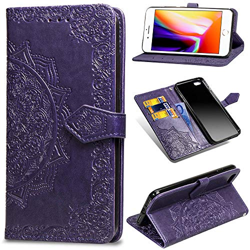 (Leather Wallet Case for iPhone 6S Plus,iPhone 6 Plus Case,[Stand Function] Ostop Embossed Mandala Flower PU Protective Shell Magnetic Flip Folio Cover with Card Slots,Cash Pocket,Wristlet-Purple)