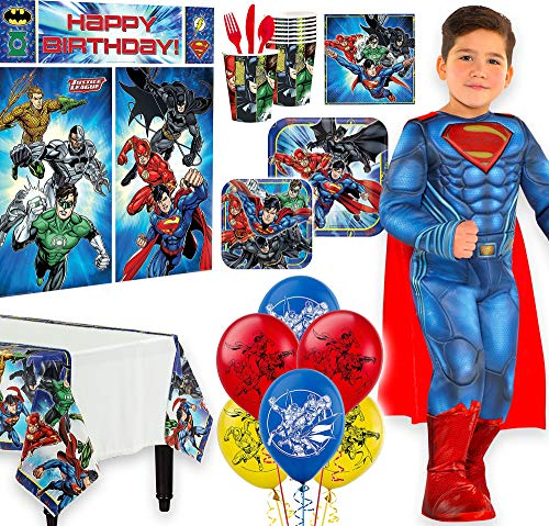 Warner Brothers Justice League Birthday Party Kit, Includes Superman Costume 3-4T, Tableware,Décor, Balloons, Serves 8