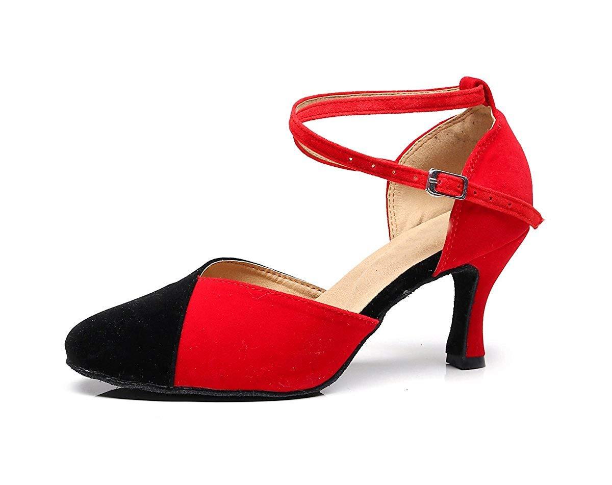 Qiusa TJ7136 Damen Mädchen Knöchelriemen Rot Wildleder Latin Dancing Schuhe Formale Partei Pumps UK 7.5 (Farbe   - Größe   -)