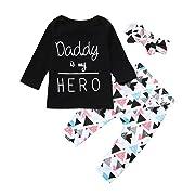 Jieson Newborn Toddler Baby Girl Letter Print Black Tops+Geometric Pants Outfits Set