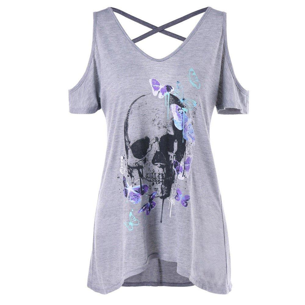 ❤️LILICAT Femmes à Manches Courtes crâne Papillon Ouvert épaule Cross Straps T-Shirt Tee Blouse Coton Casual élégant Vintage Shantou Papillon T-Shirt Haut