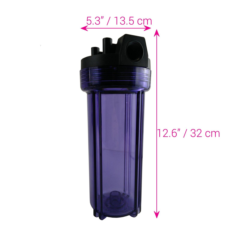 Caja Transparente Universal con Puertos de 1.90 cm para Filtros de Agua de 25.4 cm Water2buy