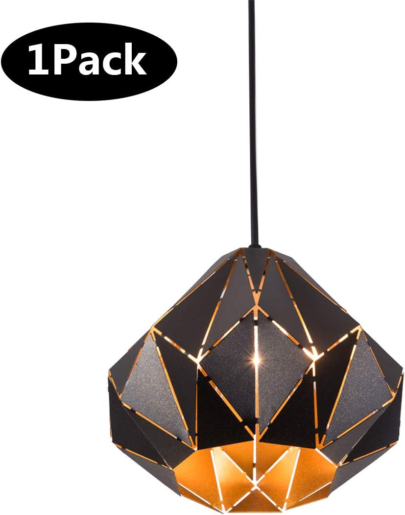 SAISHUO Pendant Light, Retro Loft Style Design, Mini Black Geometric Pendant Lighting Fixture, Hanging Ceiling Lamp,Chandelier for Kitchen Island, Bar, Hallway, Living Room, Dining Room