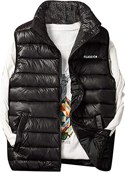 YYG Mens Stand Collar Sleeveless Thicker Winter Down Quilted Coat Vest Waistcoat