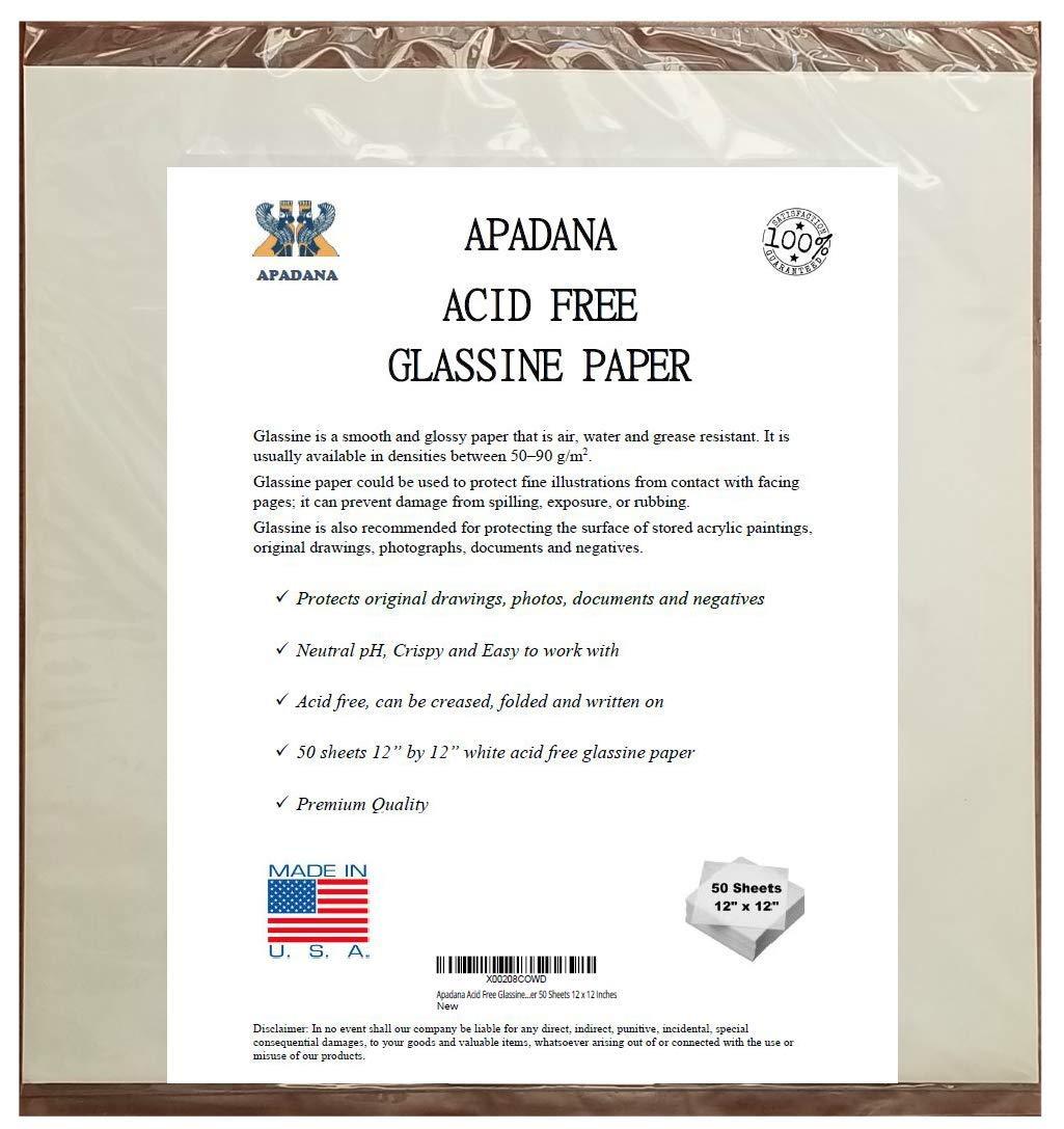Apadana Acid Free Glassine Paper 50 Sheets 12 x 12 Inches by APADANA