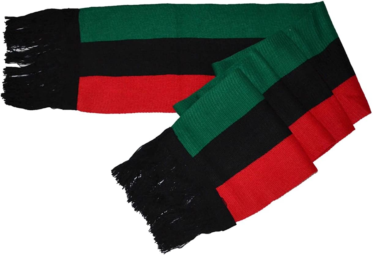 "MM Red Black and Green Pan-african Flag Inspired Scarf 8""80"""