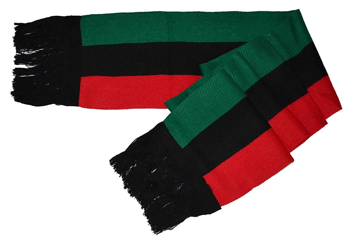 MM Red Black and Green Pan-african Flag Inspired Scarf 8'*80'