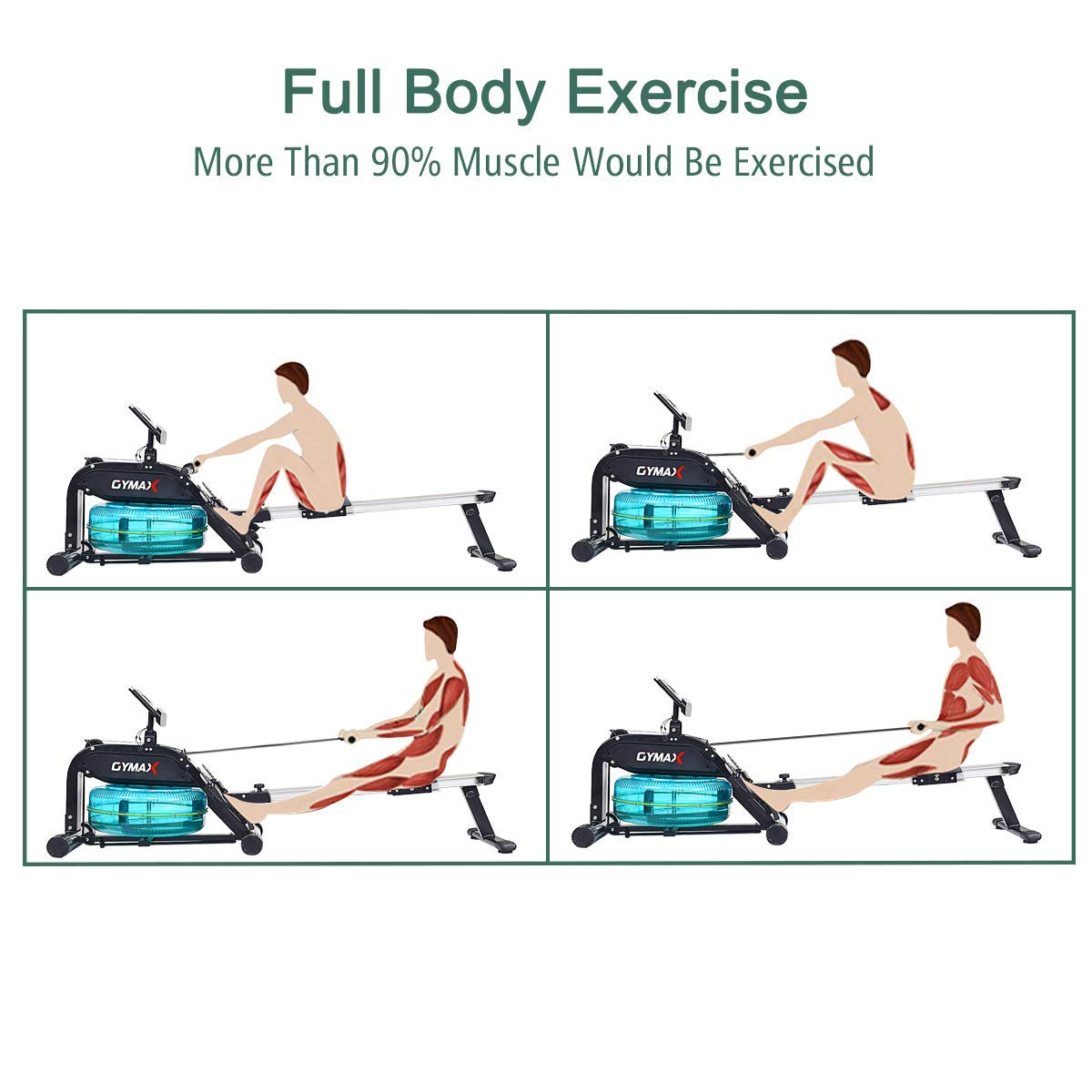 Goplus Water Rowing Machine with Heart Rate Sensor Indoor Water Rower with Adjustable Resistance Water Wheel LCD Monitor & Full Body Exercise for Home Use by Goplus (Image #9)
