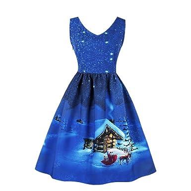 VENMO Plus Size Frauen Kleid Weihnachtsfeier Kleid Vintage Xmas ...