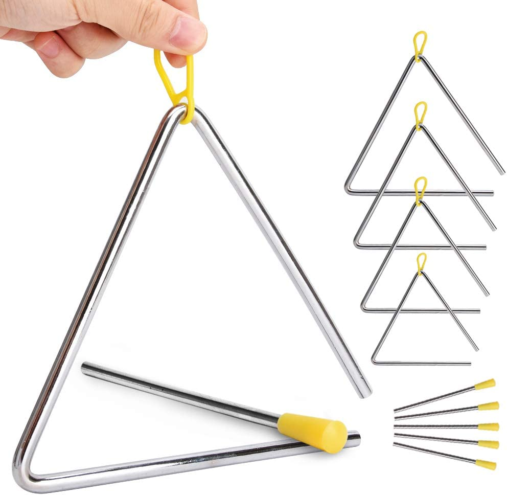 """5 Pack Hand Percussion Instrument Triangles with Striker for Music Triangle Children Music Enlightenment - 5 Size (4"""" 5"""" 6"""" 7"""" 8"""")"""