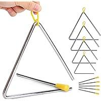 Paquete de 5 triángulos de percusión de mano con golpeador para triángulo de música, iluminación de música para niños, 5…