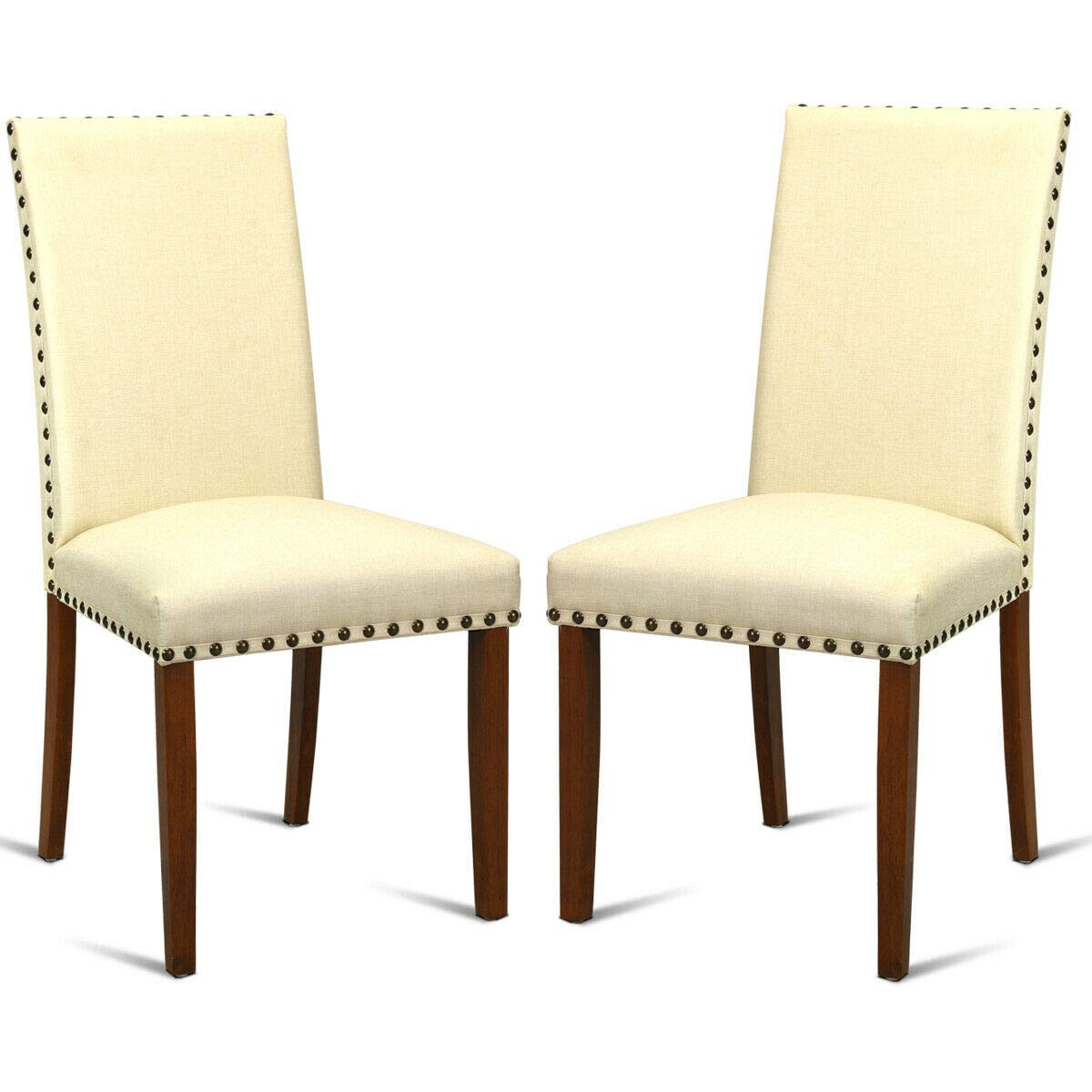 Giantex Set of 2Fabric Dining Chairs w/Nailed Trim, Upholstered Cushion &Solid Rubber Wooden Legs, Sponge Backrest, Classical Mid Century Style, 2 PCS Armless Side Chairs, Beige by Giantex