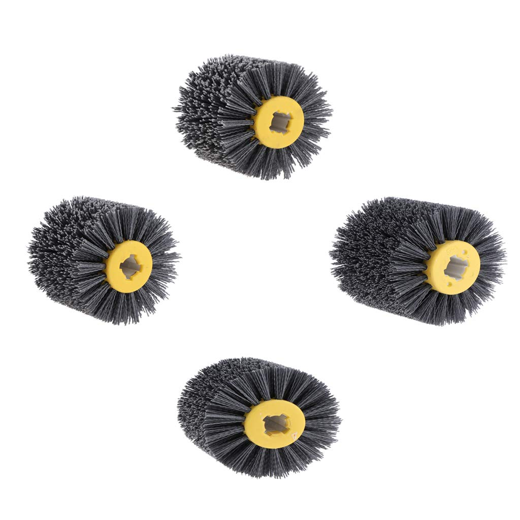 DYNWAVE 4 Pieces Wire Drawing Wheel Burnishing Drum Brush for Wood Furniture Derusting/Deburring/Cleaning