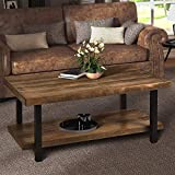 Easy Assembly Hillside Rustic Natural Coffee Table with Storage Shelf for Living Room (Rectangle)