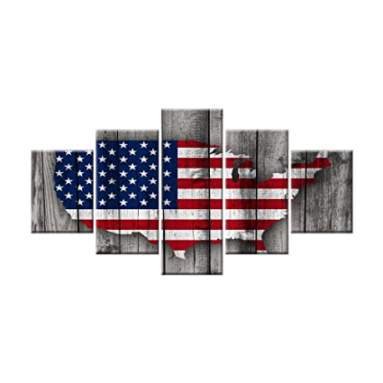 5 Panels American Flag Canvas Painting Wall Art about Independence Day Prints on Canvas Modern Artwork