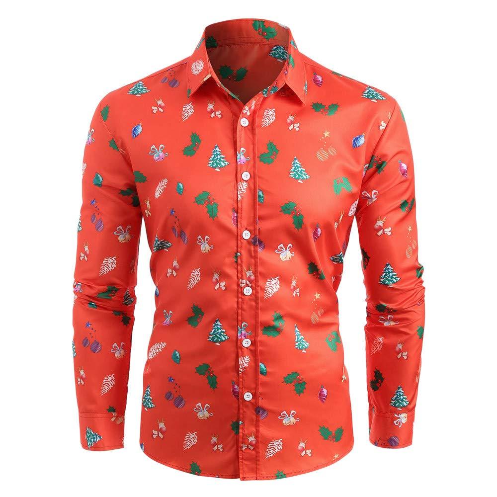 xinchengruishangmao Ugly Christmas Sweater Men's Christmas Pattern Print Button Down Long Sleeve Shirt Autumn Winter Shirt