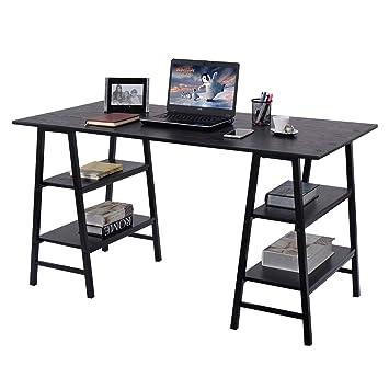 """tangkula 55 """"para ordenador PC portátil mesa de escritura con estantes muebles de oficina"""