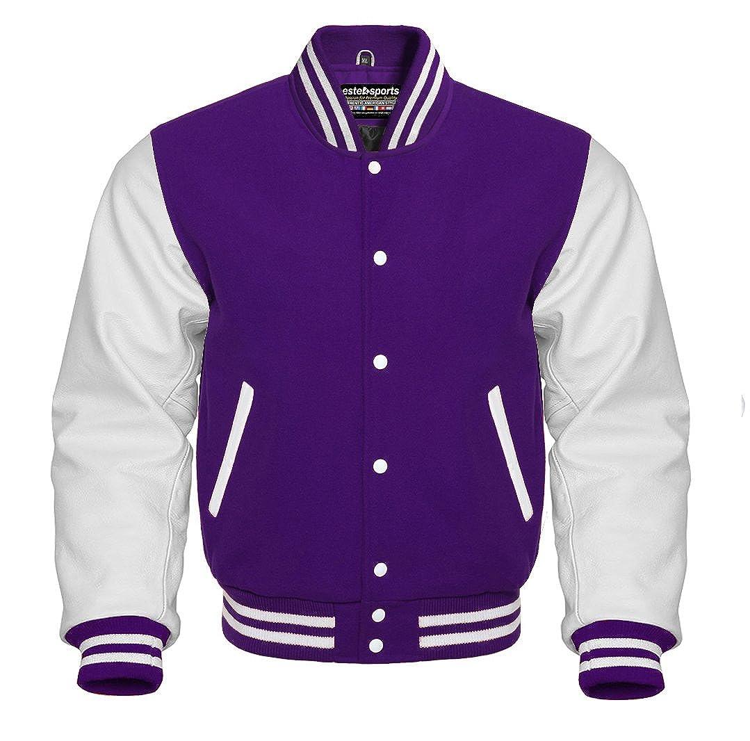 Authentic American Varsity Letterman Jacket Purple Wool Blend & Genuine White Leather Sleeves Estek Sports E202