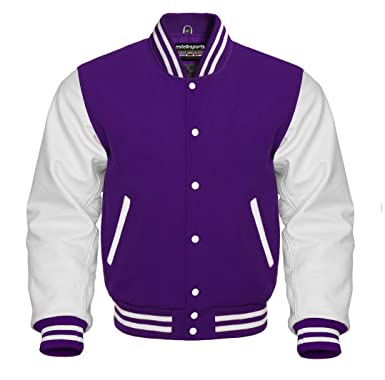 702ba5bda Men's Authentic American Varsity Letterman Jacket Purple Wool Blend &  Genuine White Leather Sleeves College School