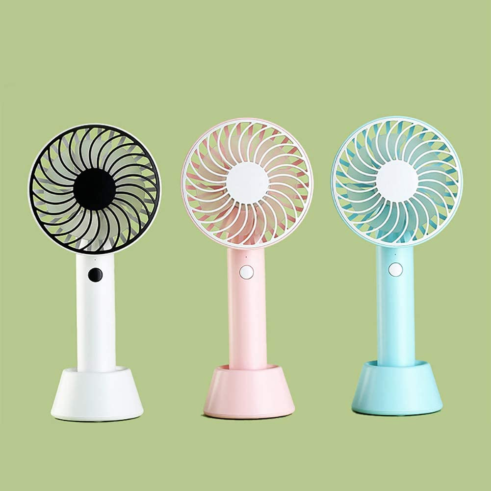 White Portable Mini Handheld Fan with Stand Cradle Indoor Outdoor Desk USB Wind Blower