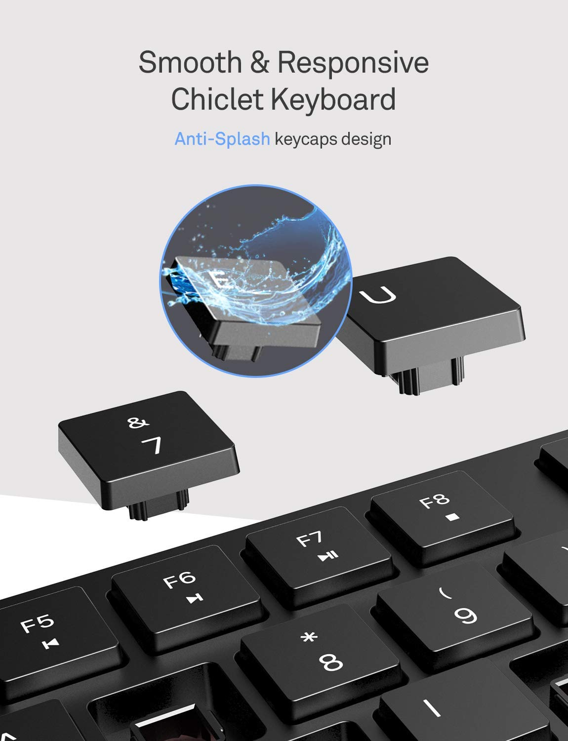 VicTsing Wireless Keyboard and Mouse Combo Black Windows Stylish Full-Size Keyboard and Quiet Mouse 2.4GHz Wireless Connection with USB Receiver for Desktop Computer Laptop PC