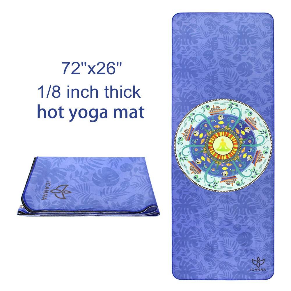 ICANNA Bikram & Hot Yoga Mat Toalla - con superficie de ante ...
