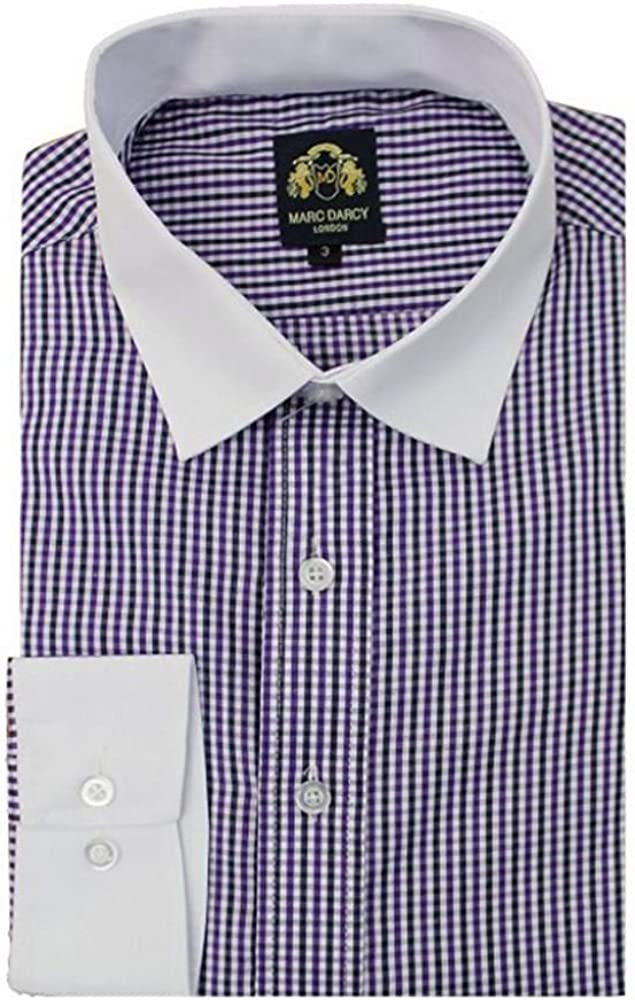 Hombre Marc Darcy Italiano Diseñador Lila Cuadros Camisa con weibem Cuello Morado S: Amazon.es: Ropa y accesorios