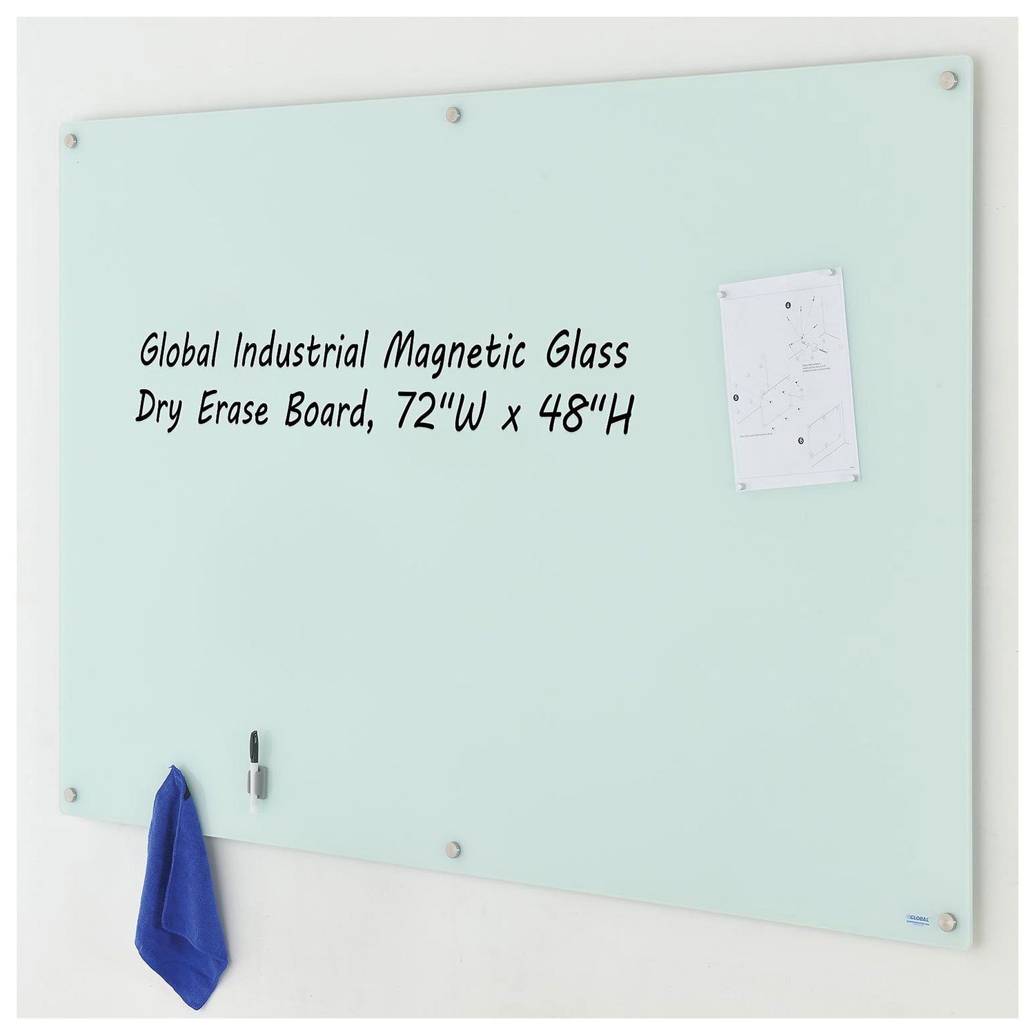 Magnetic Glass Dry Erase Board, White, 72 x 48 by Industrial Supplies