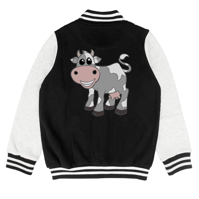Autumn Teen Boys Winter Cartoon Gray Cute Cow Farmers Comfortable Baseball Jacket Overcoat