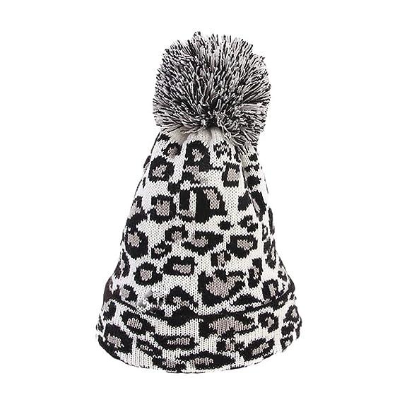 Allywit Women Leopard Faux Fur Ball Winter Warm Crochet Knitted Hat Cap  Beanie  Amazon.in  Clothing   Accessories f367de076a61