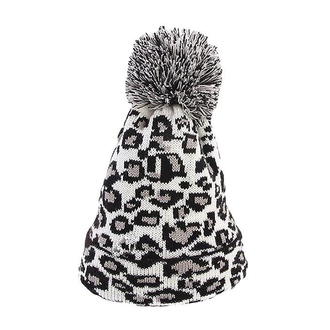 8b8e35d60c5 Allywit Women Leopard Faux Fur Ball Winter Warm Crochet Knitted Hat Cap  Beanie  Amazon.in  Clothing   Accessories