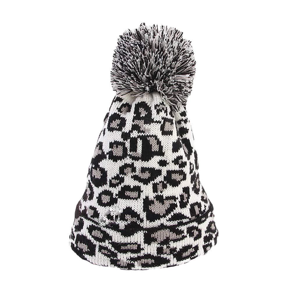 Winter Women Leopard Faux Fur Ball Winter Warm Acrylic Crochet Knitted Hat Cap Beanie (1 pc, White)