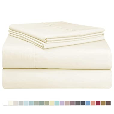 Pizuna 400 Thread Count Cotton Queen Size Cream Sheets Set, 100% Long Staple Cotton 4 PC Sheets, Sateen Cotton Bedding Set fit Upto 15 inch Deep Pocket (Ivory Queen 100 Percent Cotton Sheets)