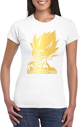 White Female Gildan Short Sleeve T-Shirt - Goku Super Saiyan - Gold design
