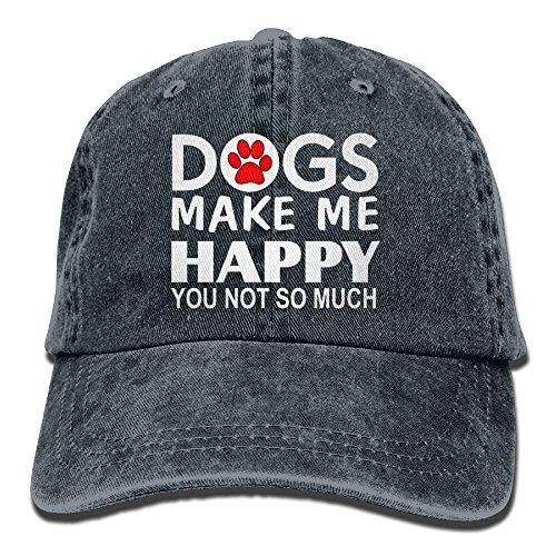 Walnut Cake Gorras béisbol Dogs Make Me Happy You Not So Much Denim Hat Adjustable Mens Great Baseball Hat