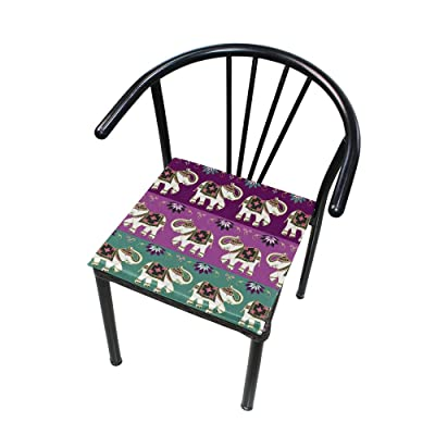 "Bardic HNTGHX Outdoor/Indoor Chair Cushion Ethnic Tribal Elephant Square Memory Foam Seat Pads Cushion for Patio Dining, 16"" x 16"": Home & Kitchen"