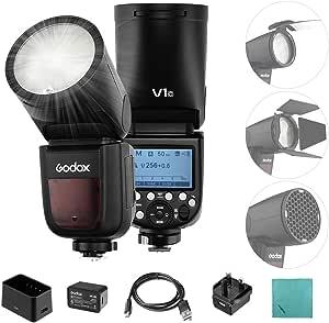 Godox V1C Flash Cámara Profesional Speedlite Speedlight de Cabeza Redonda inalámbrica 2.4G compatible con Canon EOS Series 1500D 3000D 5D Mark LLL 5D Mark ll para fotografía de Estudio de Retratos