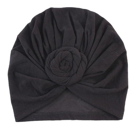 Iuhan Flower Newborn Cute India Hat Ruffle Warm Winter Cap Cotton Hemming  Hat (Black) 1953f72f47f