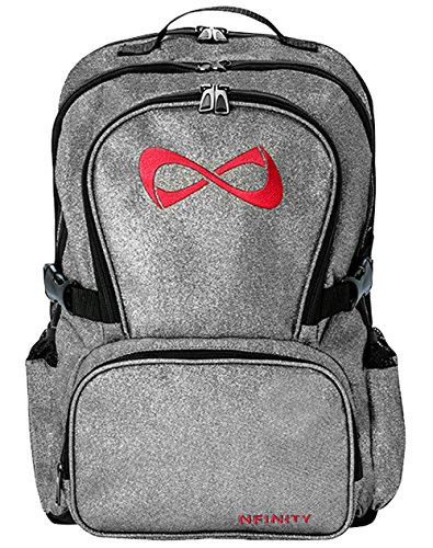 Nfinity Backpack with Logo, Sparkle Grey/Red