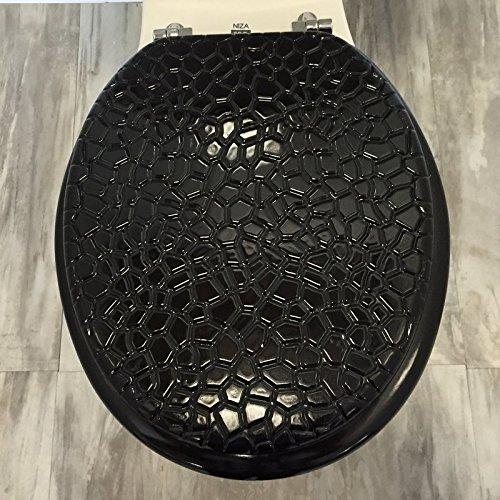 Daniel's Bath & Byound Molded Wood Round Toilet Seat Stone Black