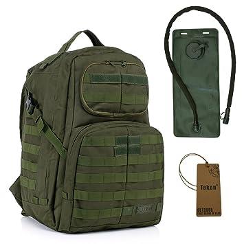 40L Military Army Assault Pack Mil-Tec Combat Mochila Mochila Sport Mochila Camping Trekking Bolsa con 2.5L Vejiga de Agua Hidratación Verde verde: ...