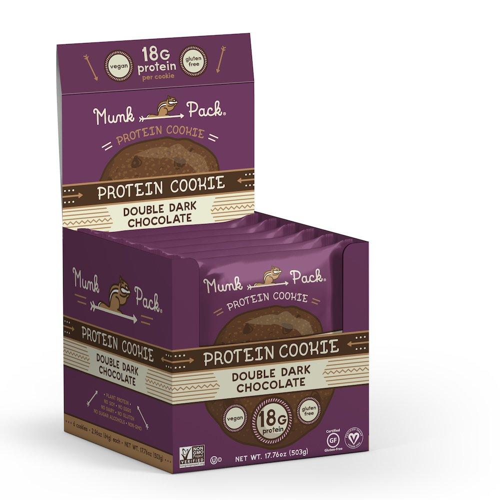 Munk Pack - Double Dark Chocolate - 2.96 oz Protein Cookie, 6 Pack | Vegan, Gluten Free, 18g of Protein per Cookie