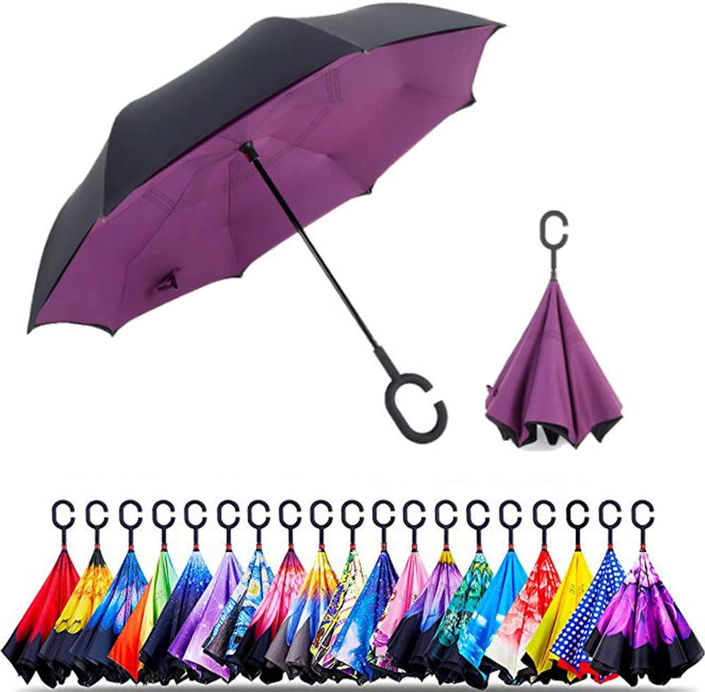 Reverse Inverted Windproof Tropical Flowers Umbrella Upside Down Umbrellas with C-Shaped Handle for Women and Men Double Layer Inside Out Folding Umbrella