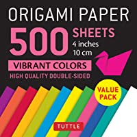 "Origami Paper 500 Sheets Vibrant Colors 4"" (10 CM): Tuttle Origami Paper: High-Quality Double-Sided Origami Sheets Printed with 12 Different Colors"