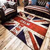MeMoreCool Retro Union Jack Floor Mat Bedroom/Living Room/Bedside Carpet Unique Distressed Style Rug Fashion Anti-slip Carpet Indoor Welcome Mats