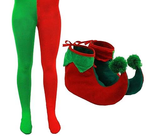 Elfo Accessorio Adulto Da Con Scarpe Vestito Collant Natale 6Ygvb7yf